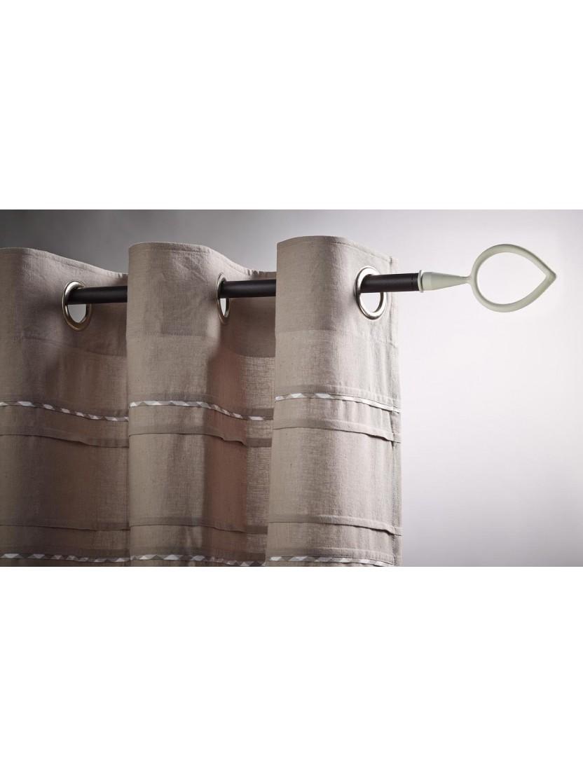 kit complet tringle rideau embout feuille blanc sabl. Black Bedroom Furniture Sets. Home Design Ideas