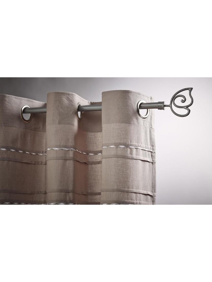 kit complet tringle rideau embout papillon taupe noozika. Black Bedroom Furniture Sets. Home Design Ideas